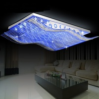 Modern Leds Rectangle Sitting Room Dining Room Bedroom Lamps And Lanterns Simple Atmospheric Crystal Droplight
