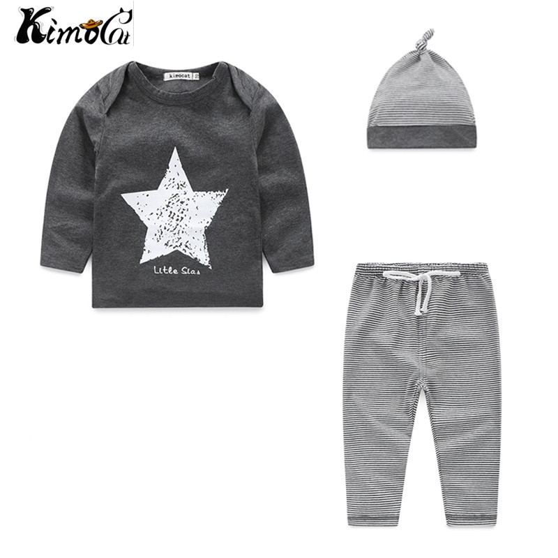 Kimocat New Spring and autumn baby boy clothes 100%cotton 3pcs (Hat + T-shirt, pants) The stars leisure baby boys clothes 2017 new cartoon pants brand baby cotton embroider pants baby trousers kid wear baby fashion models spring and autumn 0 4 years