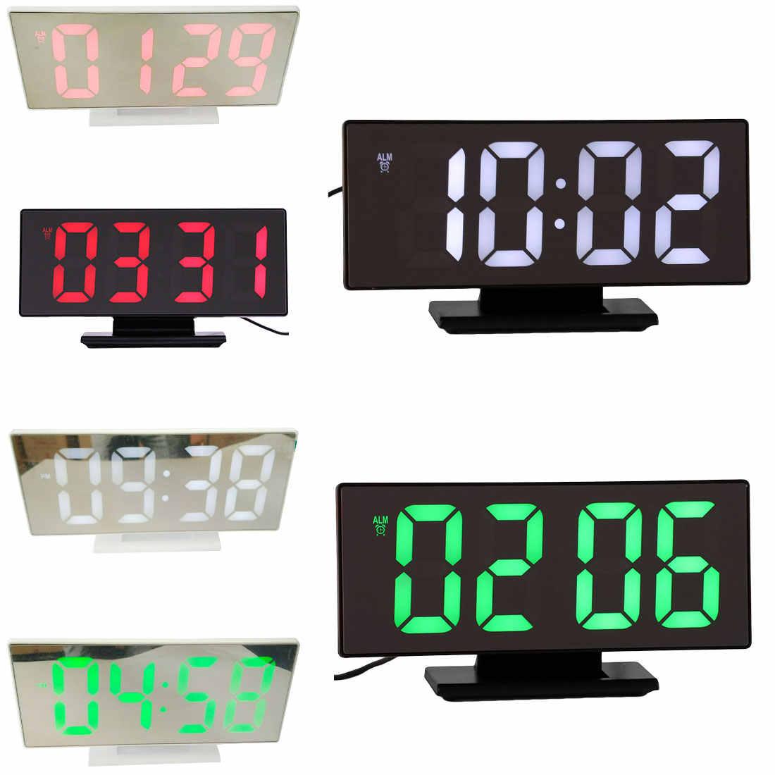 متعددة الوظائف منبه رقمي على مدار الساعة LED عرض مرآة ساعة غفوة الوقت طاولة ليلية سطح المكتب reloj despertador مع كابل يو اس بي