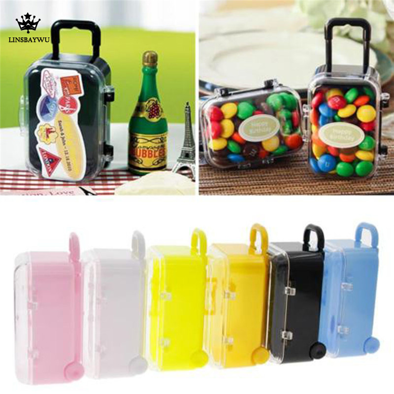 2020 New style Creative Mini Hand-held Rolling Pull Lever Travel Suitcase Wedding Candy Storage Box
