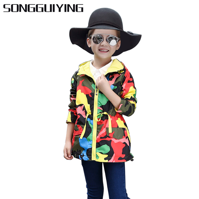 cb61ccc400b SONGGUIYING A192 Girls Clothes Girl Jackets Children Coat Kids Spring  Outerwear Teenager Hooded Windbreaker Thin Waterproof Coat
