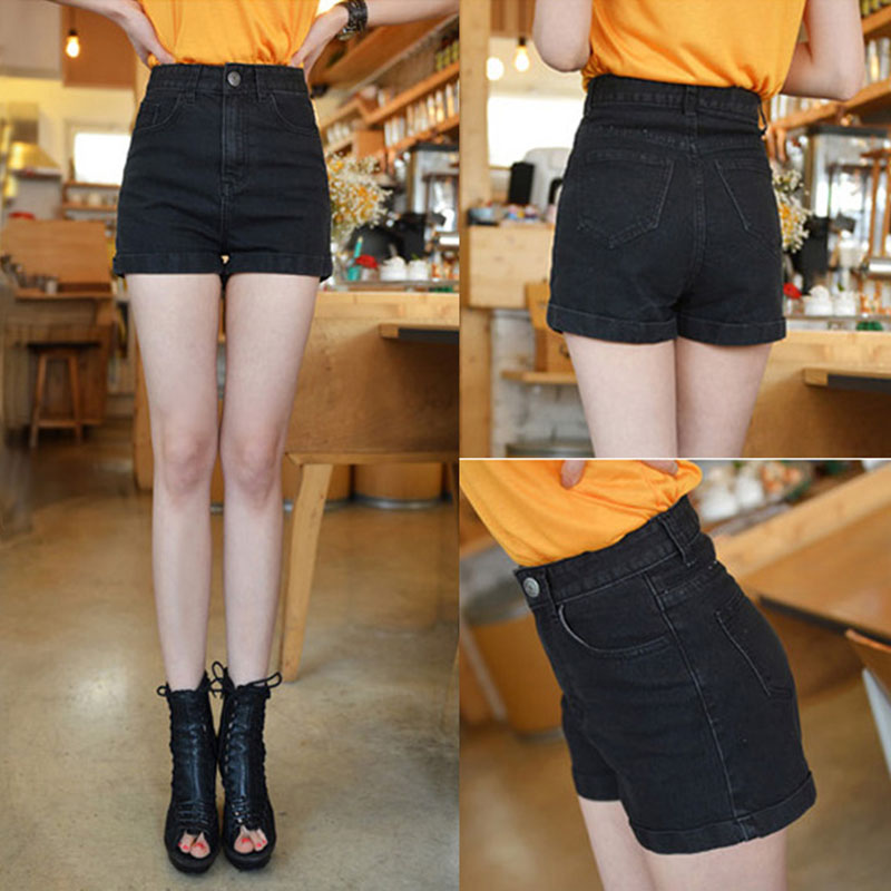 2017 Summer Hot Fashion Clothes Women High Waist Shorts Cowboy Loose Cuffs Wide Leg Jeans Shorts Female Denim Shorts Plus Size