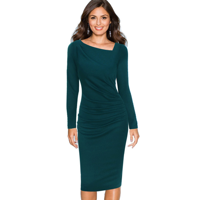 ca0e1a8cd60 Vfemage Womens Elegant Asymmetric Neck Draped Slim Long Sleeve Wear To Work  Office Business Casual Party