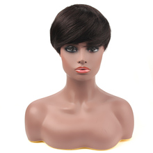 Salonchat Short Human Hair Wigs With Bangs Natural Color Brazilian 100% Remy Hair wig Short Wigs For Black Women