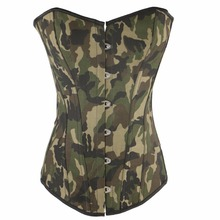 O envio gratuito de Emagrecimento Cintura Apliques Camouflagr Bodysuit Shapewear Corsets & Bustiers Espartilho Exército Verde S-3XL QF885