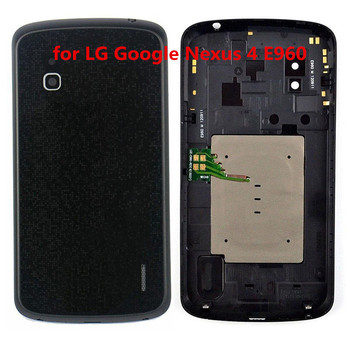For LG Google Nexus 4 E960Glass full accessories Cover Housing Case Rear Housing Battery Cover Back Cover Case Rear Door Replace image