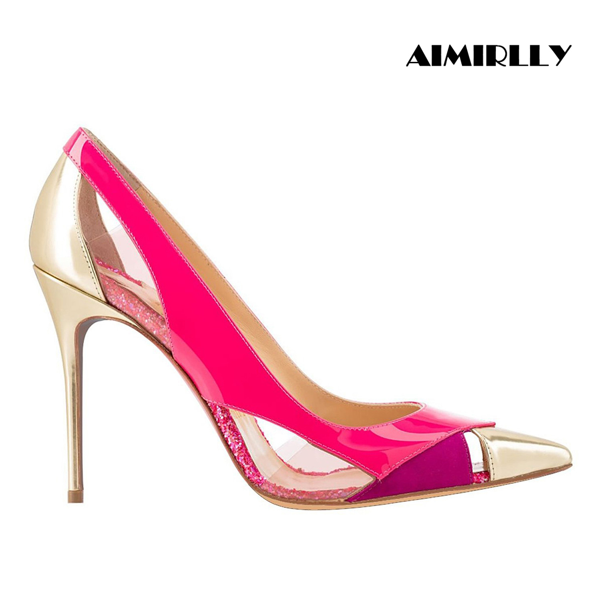 Aimirlly Women Shoes Pointed Toe High Heels Pumps Cutout & Patchwork Stilettos Spring Summer Wedding Party Shoes Hot Pink Purple