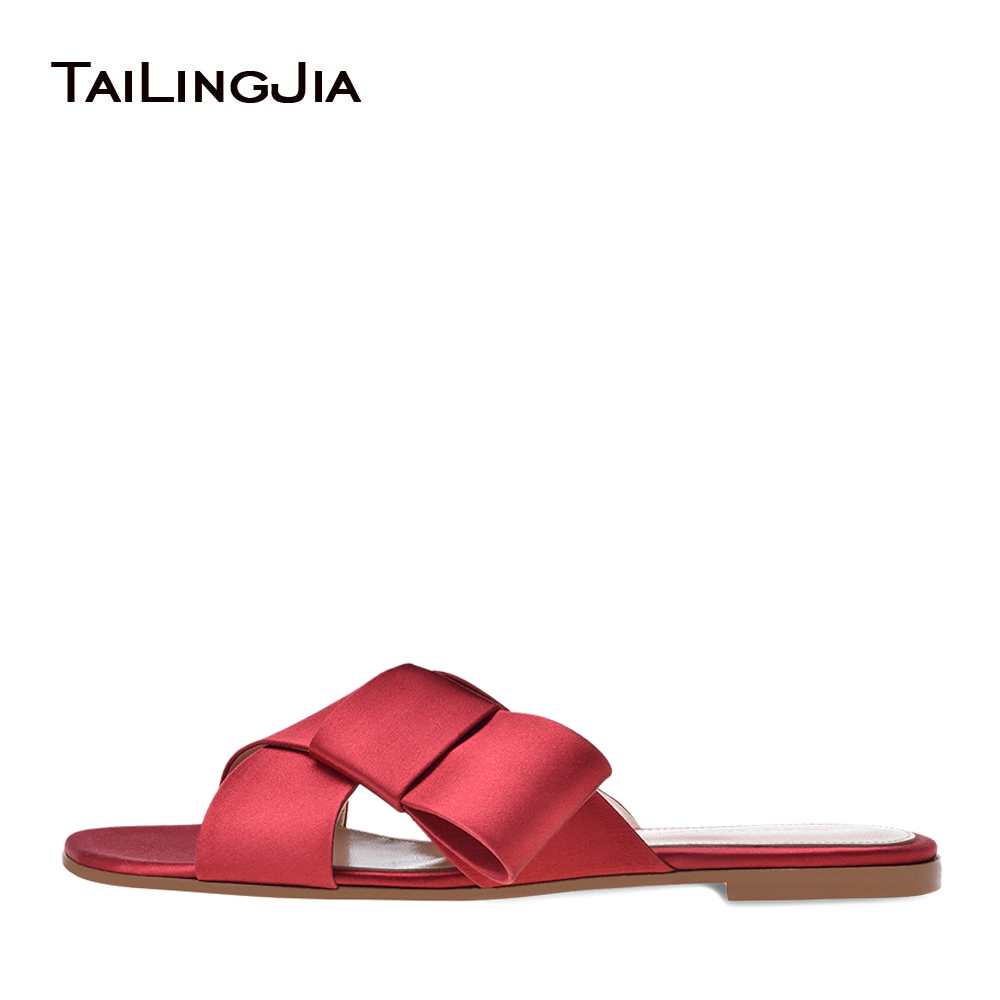 Women Fringe Beach Shoes Cross Band Red Suede Slippers Black Satin Dark Blue Velvet Flat Sandals Vacation Shoes Slides 2018 fringe detail criss cross pu flat sandals