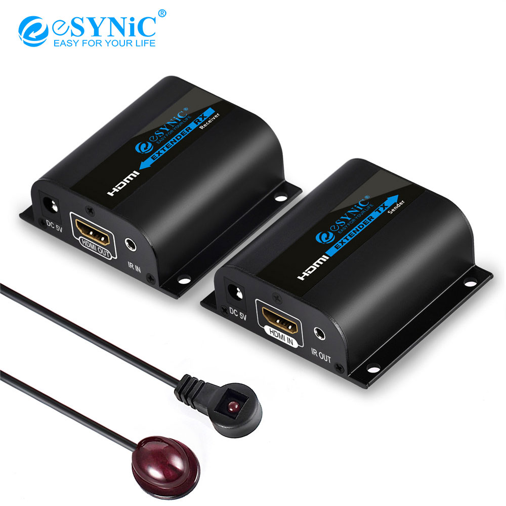 Esynic HDMI Extender signal to 60m RJ45 Transmitter TX/RX HDMI Repeater booster Receiver Over forCAT5 CAT6 Cable with IR remoteEsynic HDMI Extender signal to 60m RJ45 Transmitter TX/RX HDMI Repeater booster Receiver Over forCAT5 CAT6 Cable with IR remote