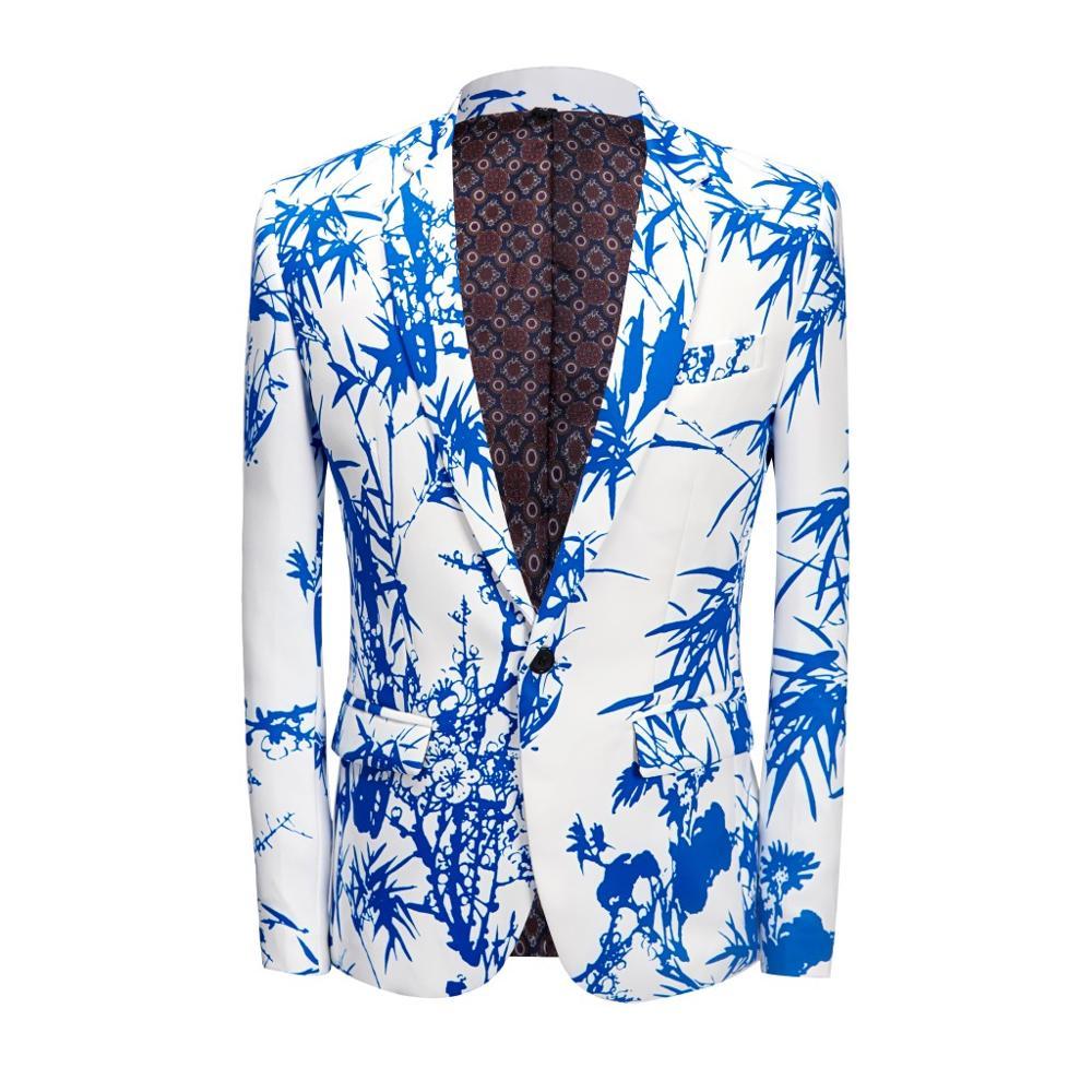Приталенный Костюм голубого и белого цвета, праздничный костюм, пальто с цветочным принтом, бамбуковое пальто, праздничное платье, ткань дл
