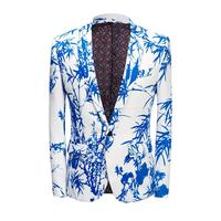 2019 slim suit blue and white lounge suit party coat floral suit print bamboo coat holiday dress mens suit fabric casual
