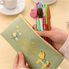 Cute Kawaii Cloth Zipper Pencil Case Lovely Cartoon Pony sample Pencil Bag For Kids Gift Korean Stationery W2.15