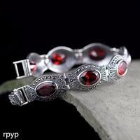 KJJEAXCMY Fine jewelry S925 pure silver jewelry classic cut Thai silver lady pomegranate Bracelet