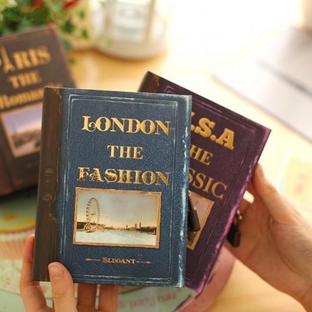 My travel story lock diary Notebook Cute western style Color page