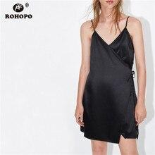 ROHOPO Silky Black Spaghetti Strap Warp Party Dress Adjustable Stain Sexy Sleep Cardigan Mini Vestido #AZ9423