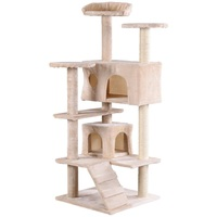 High Quality 52 Cat Scratching Post and Ladder Kitten Tower Tree Cat Tree Tower House Cat Shelf PS7056