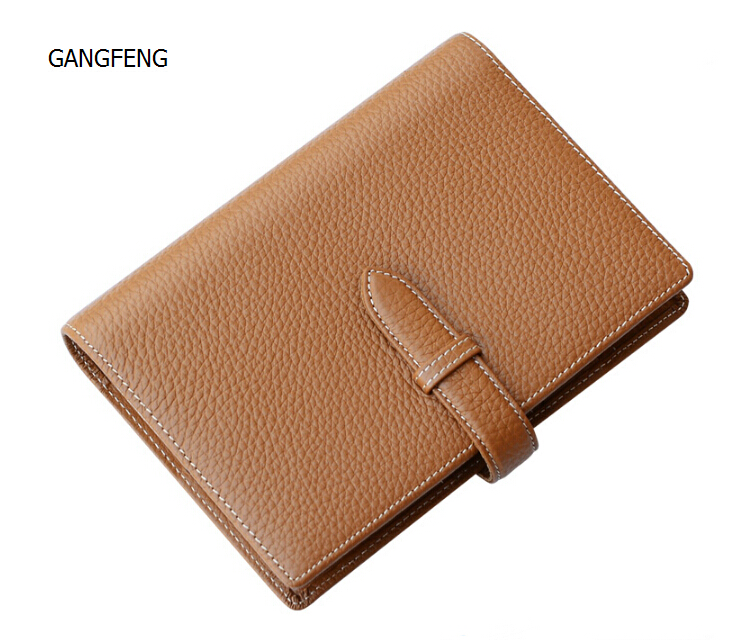 ФОТО Advanced Genuine A6 Leather Business Notebook Stationery Leader Planner Brown Diary Binder Strap Loose leaf Gift