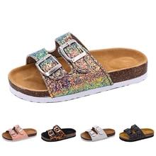 Новые детские тапочки летние пляжные детские пробковые сандалии шикарные Блестки для семьи обувь Леопард босиком на плоской подошве для девочки Тапочки