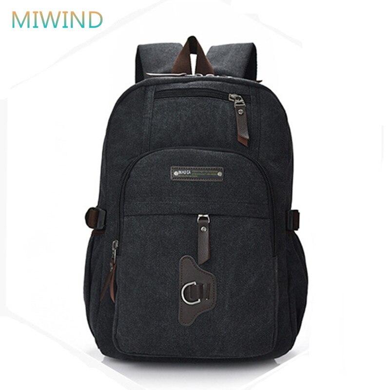 MIWIND Fashion 2017 Canvas Women Backpack Leisure Travel School Bags Unisex Laptop Backpacks Men Backpack Mochilas CB277 fashion canvas backpack casual school backpacks travel bag large capacity rucksacks unisex men women military backpack 1123
