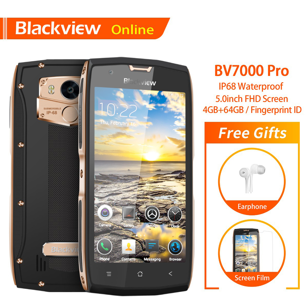 Blackview BV7000 Pro Original 5.0 Rugged IP68 Waterproof Smartphone Octa-Core 4GB+64GB Dual Camera Fingerprint 4G Mobile PhoneBlackview BV7000 Pro Original 5.0 Rugged IP68 Waterproof Smartphone Octa-Core 4GB+64GB Dual Camera Fingerprint 4G Mobile Phone