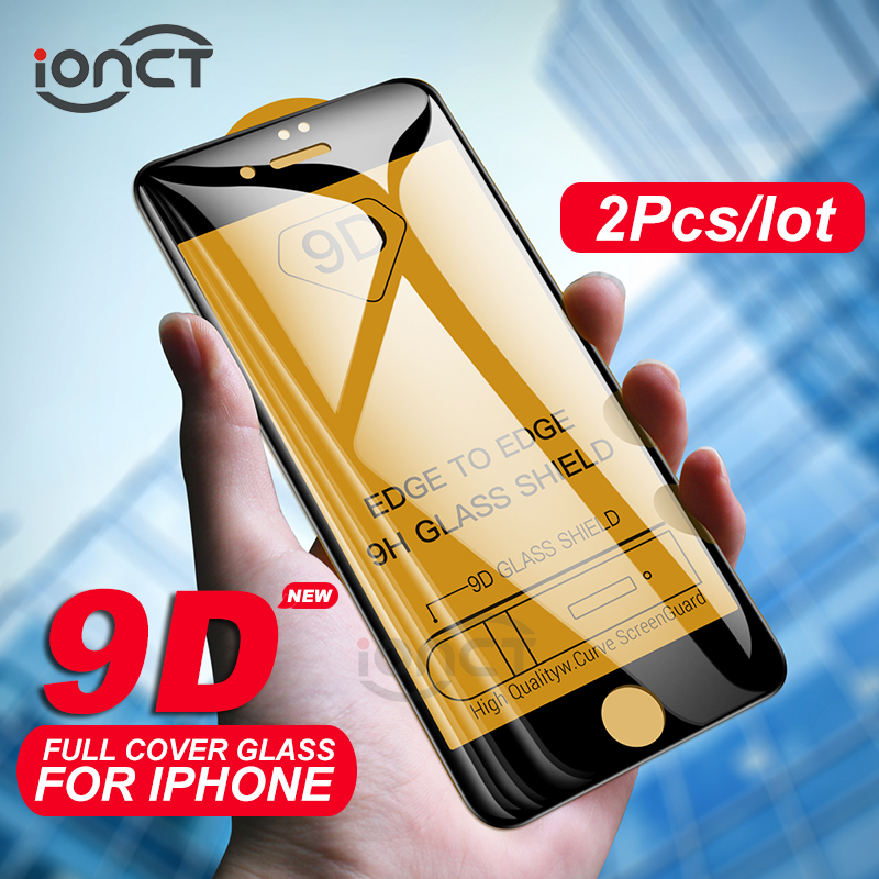 2Pcs/lot 9D Protective Glass On For IPhone 6 6s 7 8 Plus Glass Full Cover IPhone X Xr Xs Max Screen Protector Tempered Glass