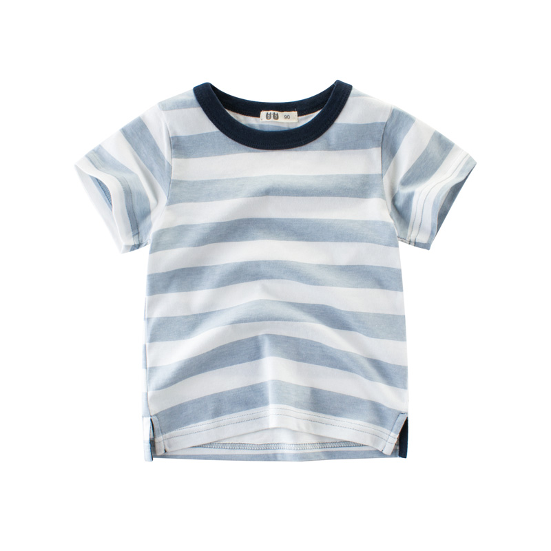 2018 Casual Children Clothing Summer Short Sleeve Cotton Striped Kids T Shirt for Boys 2 3 4 5 6 7 8 Years T-shirts for Children chic stand collar 3 4 sleeve striped shirt dress for women