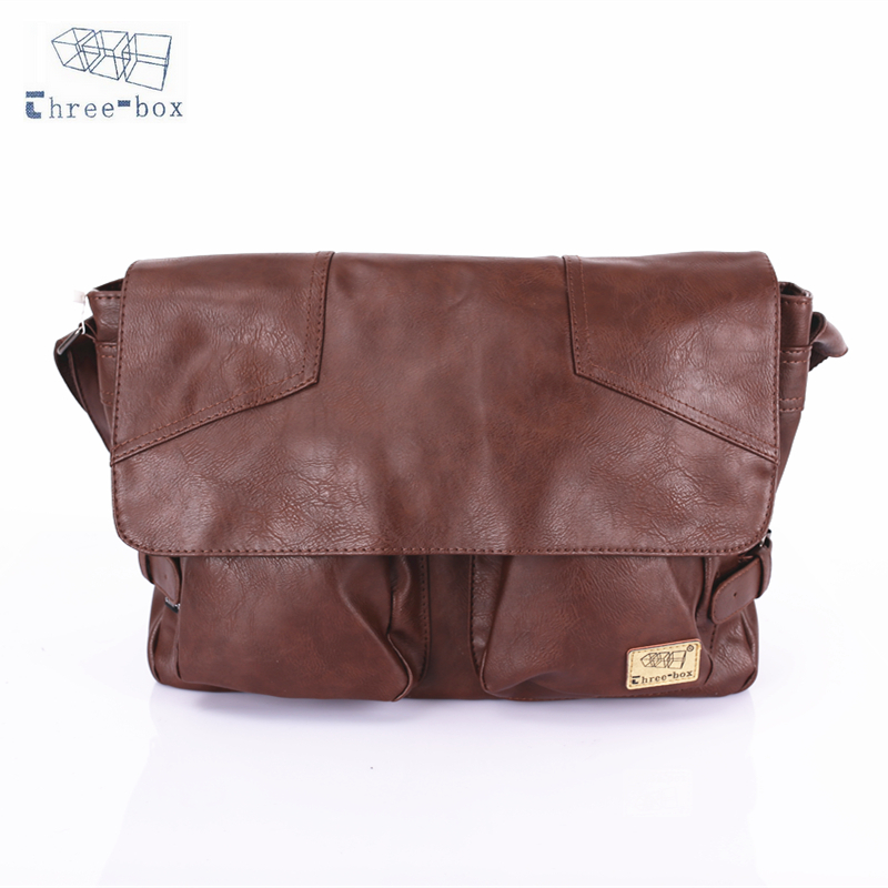 Three-Box Brand Handbag Crossbody Bag Men PU Leather Vintage Casual Satchel Sling Shoulder Messenger Bag For Man Business 1345 uiyi original design men handbag pu leather satchel messenger crossbody bag small casual business shoulder sling bags 160108