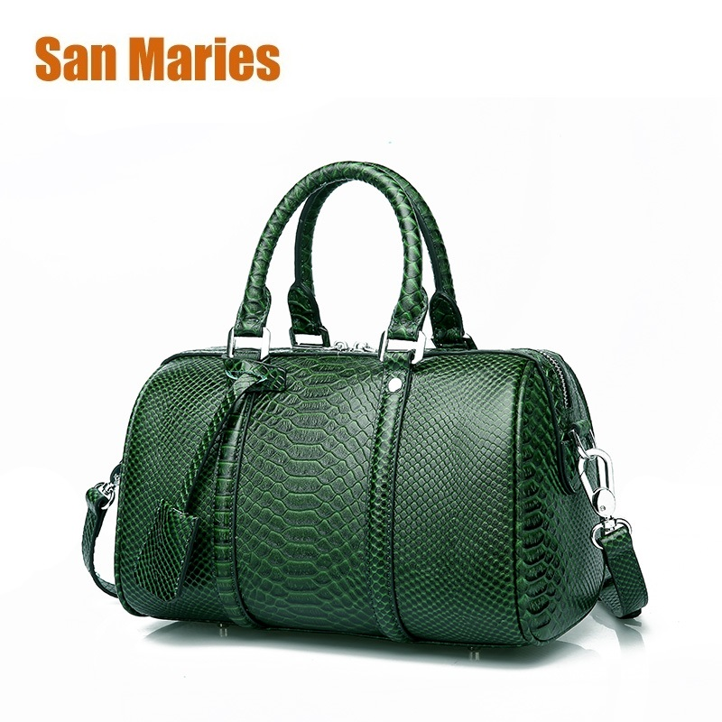 San Maries Real Cow Leather Ladies Women Genuine Leather Handbag Shoulder Bags High Quality Boston Crossbody Bag Pillow Bags high quality dc4110 dc4595 photocopy machine lower roller fuser roller for dc 4595 4110 pressure roller copier parts