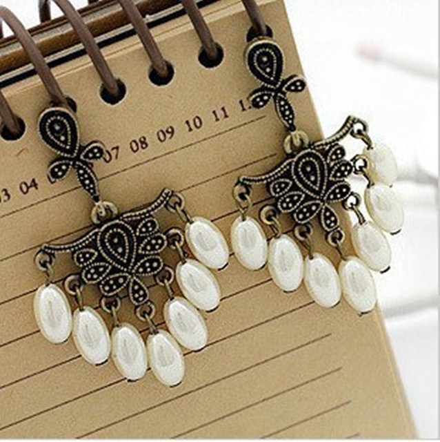 BS1981 Fashion vintage flower Imitation pearl all-match earrings for women drop earring pearl jewelry  Vintage Patterned