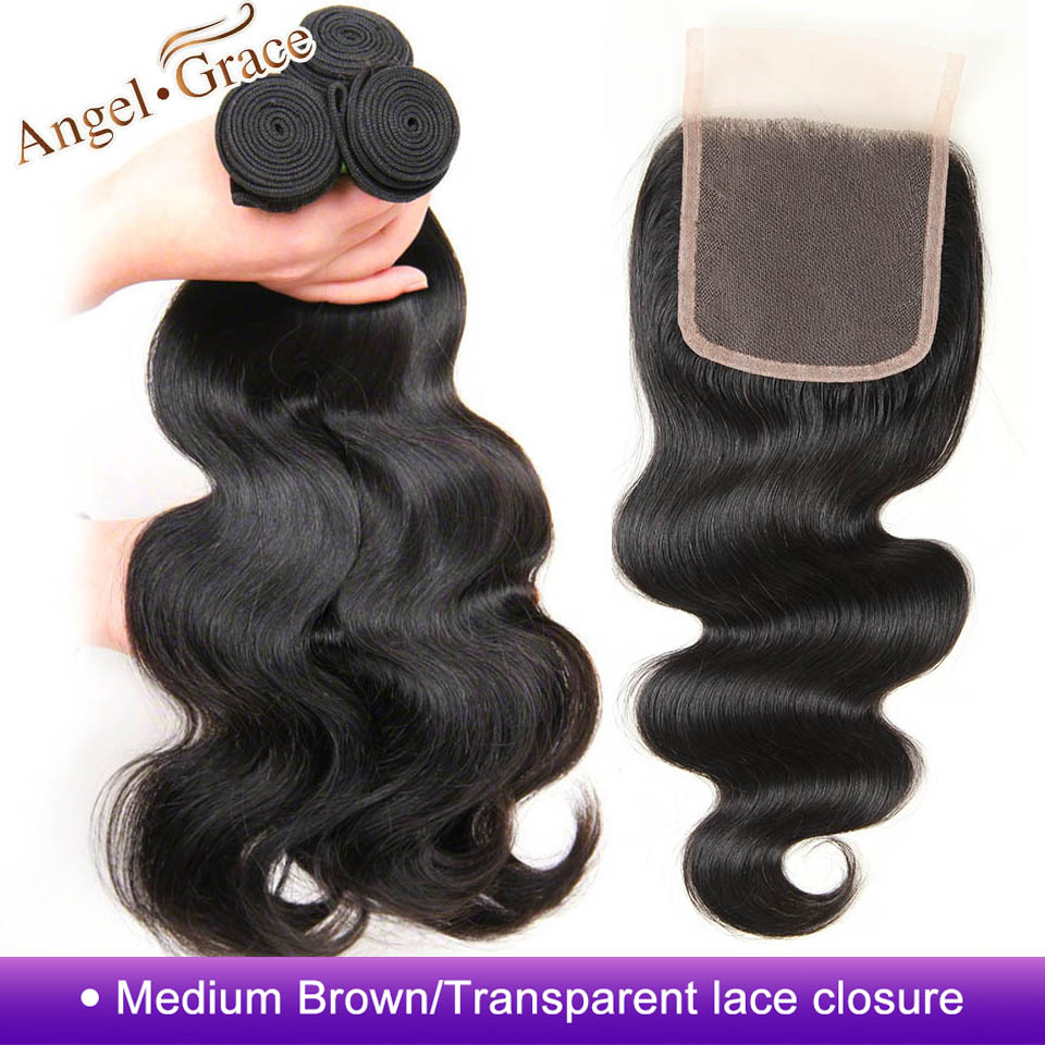 Brazilian Body Wave Bundles With Closure 3 Bundles Remy Hair Bundles With Closure Angel Grace Human