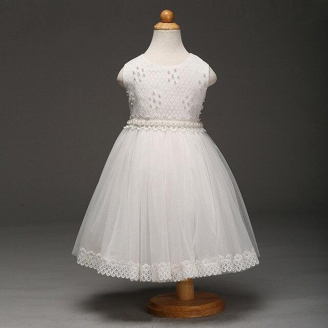 23cc146b0c Evening Dresses Kids 2017 Pretty Girl Dresses Children White Sleeveless  Pearl Decoration Princess Net Yarn Skirt