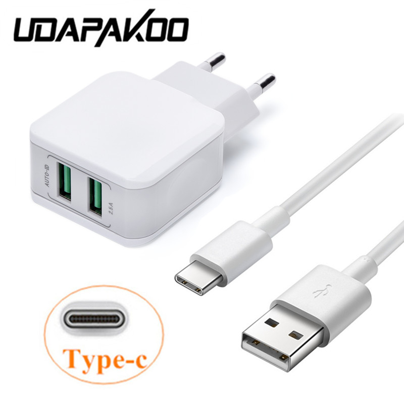 1M usb 3.1 Type c quick charge cable & 2.5A 2 USB port Charger Adapter For samsung Galaxy S8 Note 8 Xiaomi mi a1 7 oneplus 5t 6