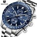Мужские часы BENYAR Топ бренд класса люкс полностью стальные бизнес Кварцевые часы мужские повседневные водонепроницаемые спортивные часы ...