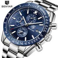 Reloj BENYAR marca superior de lujo, reloj de cuarzo de acero para negocios, reloj deportivo impermeable informal para hombres, reloj Masculino