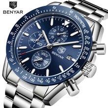 メンズ腕時計benyarトップブランドの高級フル鋼ビジネスクォーツ腕時計メンズカジュアル防水スポーツ時計レロジオmasculino