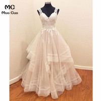 2018 Vintage Ball Gown Wedding Dresses with Appliques Lace Robe de mariage Tulle Spaghetti Straps Wedding Dress Bridal Gown