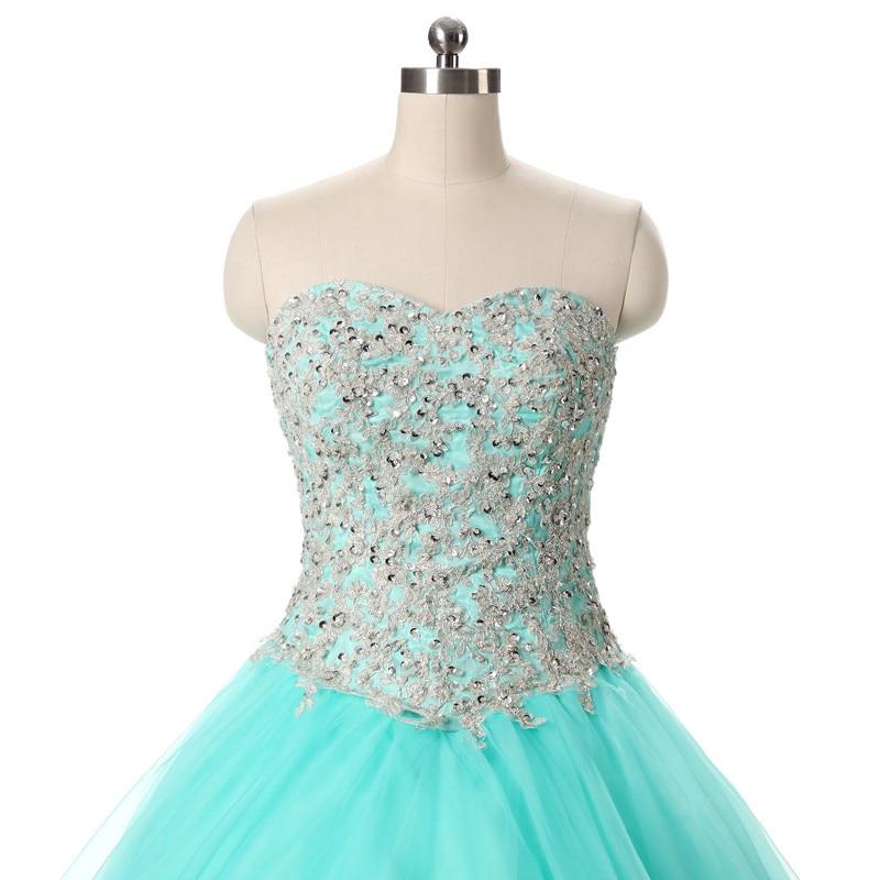 2017 echte foto tulle baljurk quinceanera jurk met applique en kralen - Jurken voor bijzondere gelegenheden - Foto 2