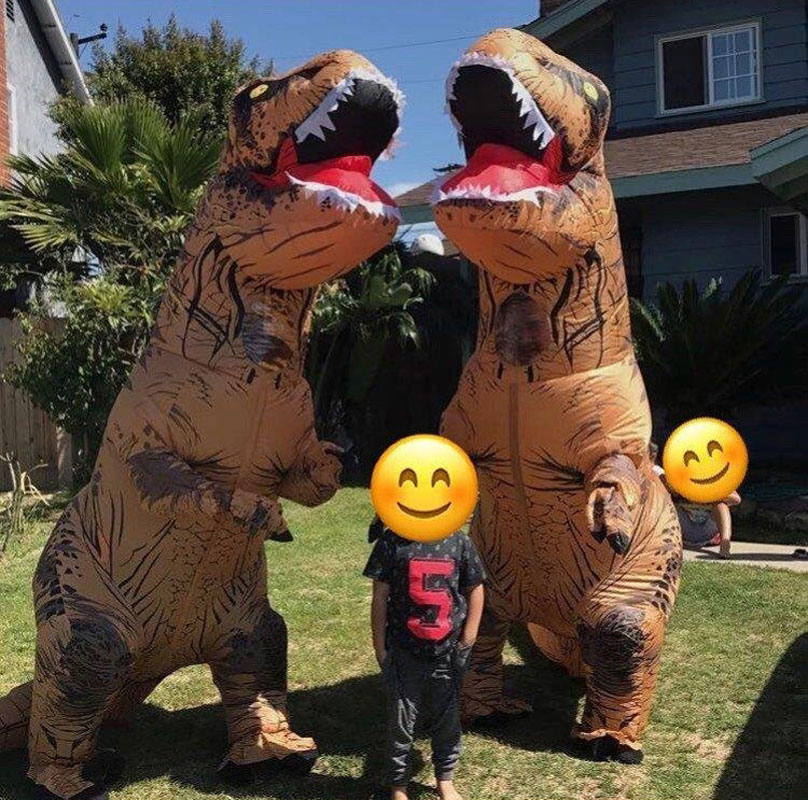 Adult Kids Halloween Cosplay T REX inflatable Dinosaur Costume Dino Jumpsuit Fancy Dress Halloween Costume for