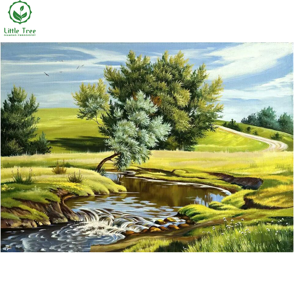 little tree river forest green grass suburban landscape diamond painting crystal pattern cross stitch oil painting wall sticker