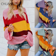 Winter Knitted Sweater Women 2019 New Casual Cotton O-neck Striped Flare Sleeve Pullovers Sweater Ladies Cute Streetwear Sweater flare sleeve striped sweater