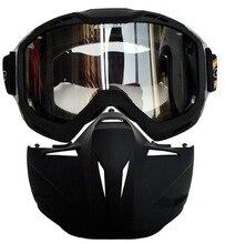 Мотоцикл Маска для лица Респиратор С Съемная Очки И Рот Фильтр для Открытым Лицом Двигателя Винтаж Шлем