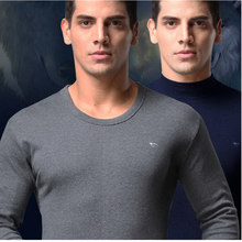 110214 Men thermal underwear autumn clothing pants thin section cotton semi high collar cotton sweater suit