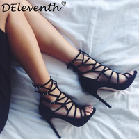 DEleventh Sexy Women Buckle Strap Sandals Gladiator Roman Cut Outs Strappy Ankle Sandals Boots Woman Stiletto