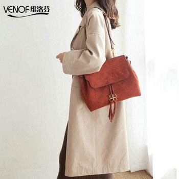 autumn winter new style dual purpose split leather women shoulder bag fashion ladies travel bag roomy leather bag for women 2019