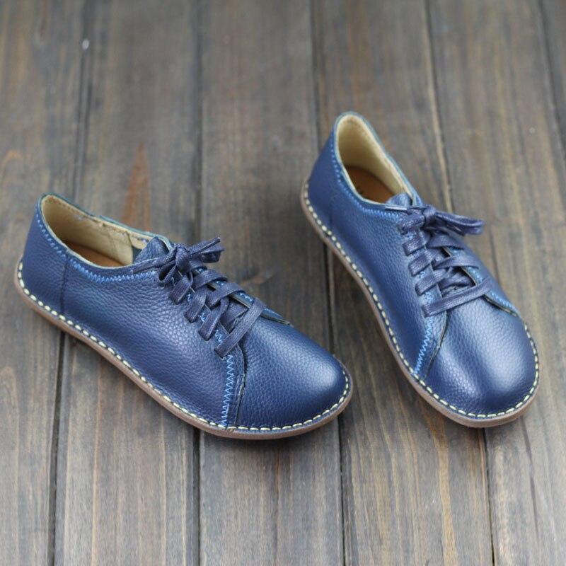Zapatos de las mujeres Planas de Cuero hecho A Mano Plana Zapatos de punta Redon