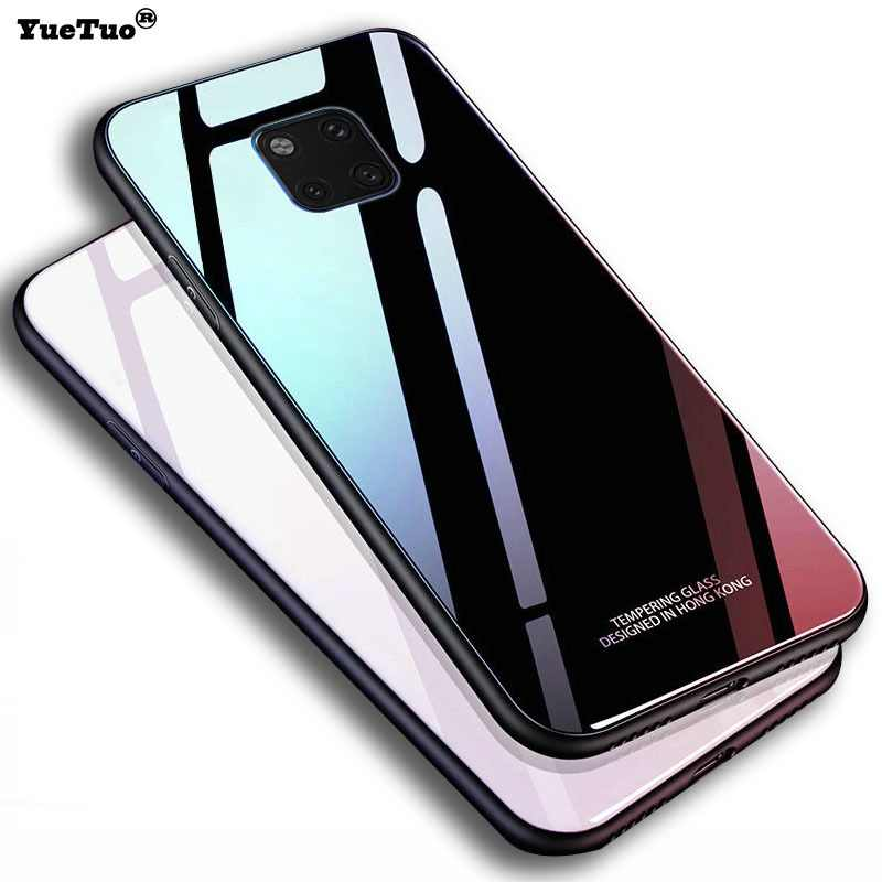YueTuo luxury original hard glass mirror case for huawei mate 20 pro x 20X silicone silicon back coque phone cover mate20 X PRO