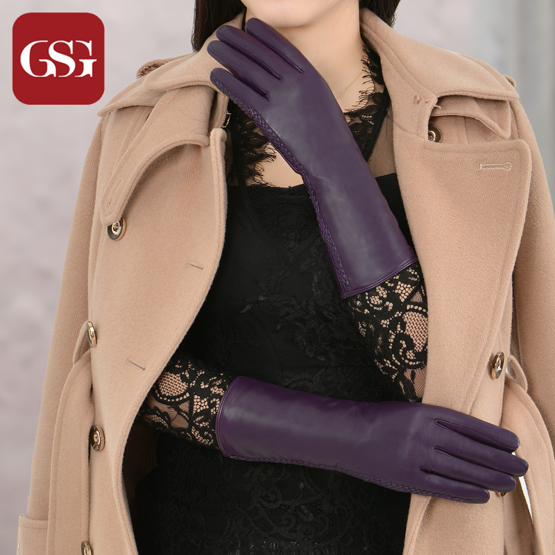 GSG Women Mid Long Gloves Genuine Leather Knitted Lining Female Windproof Warm Lambskin Winter Gloves Colored