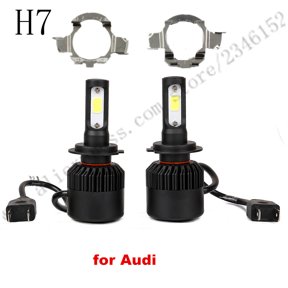 ФОТО H7 led headlight head lamp kit with adapter for Audi A3 A4L A6L H7
