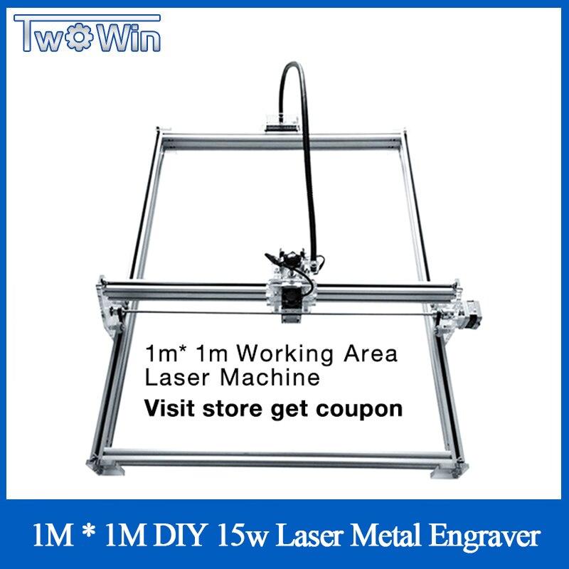 DIY 15w Big Power Laser Metal Engraver Laser Metal Cutting Machine 1*1M Big Work Size Laser Engrave Machine Laser Metal Marking