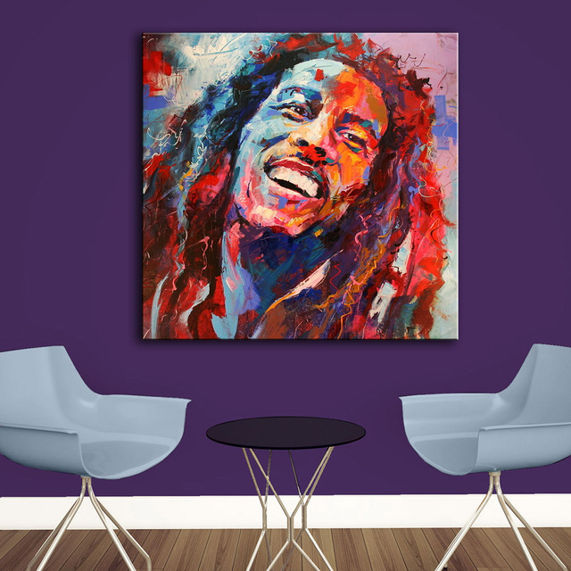 Large Size Print Oil Painting Wall Bob Marley Pop Art Home Decorative